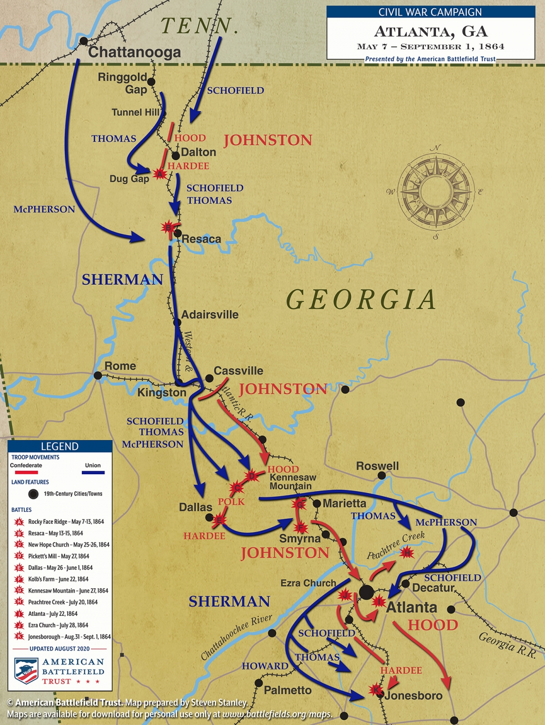 Map of the Atlanta Campaign from the American Civil War